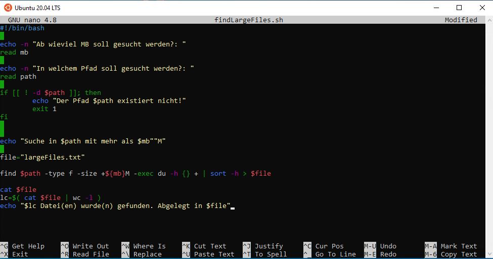 Dateiinhalt findLargeFiles.sh